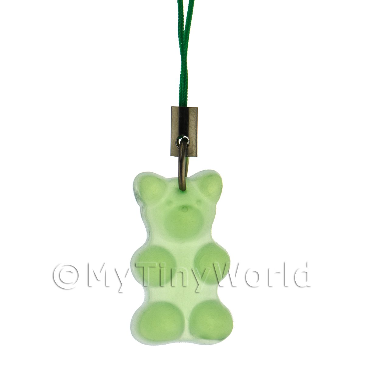 Translucent Pale Green Jelly Bear Phone Charm