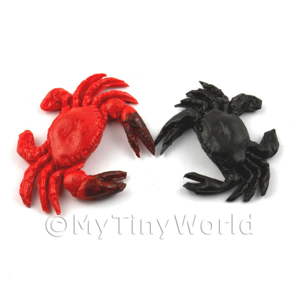 Dolls House Miniature Red and Black King Crabs