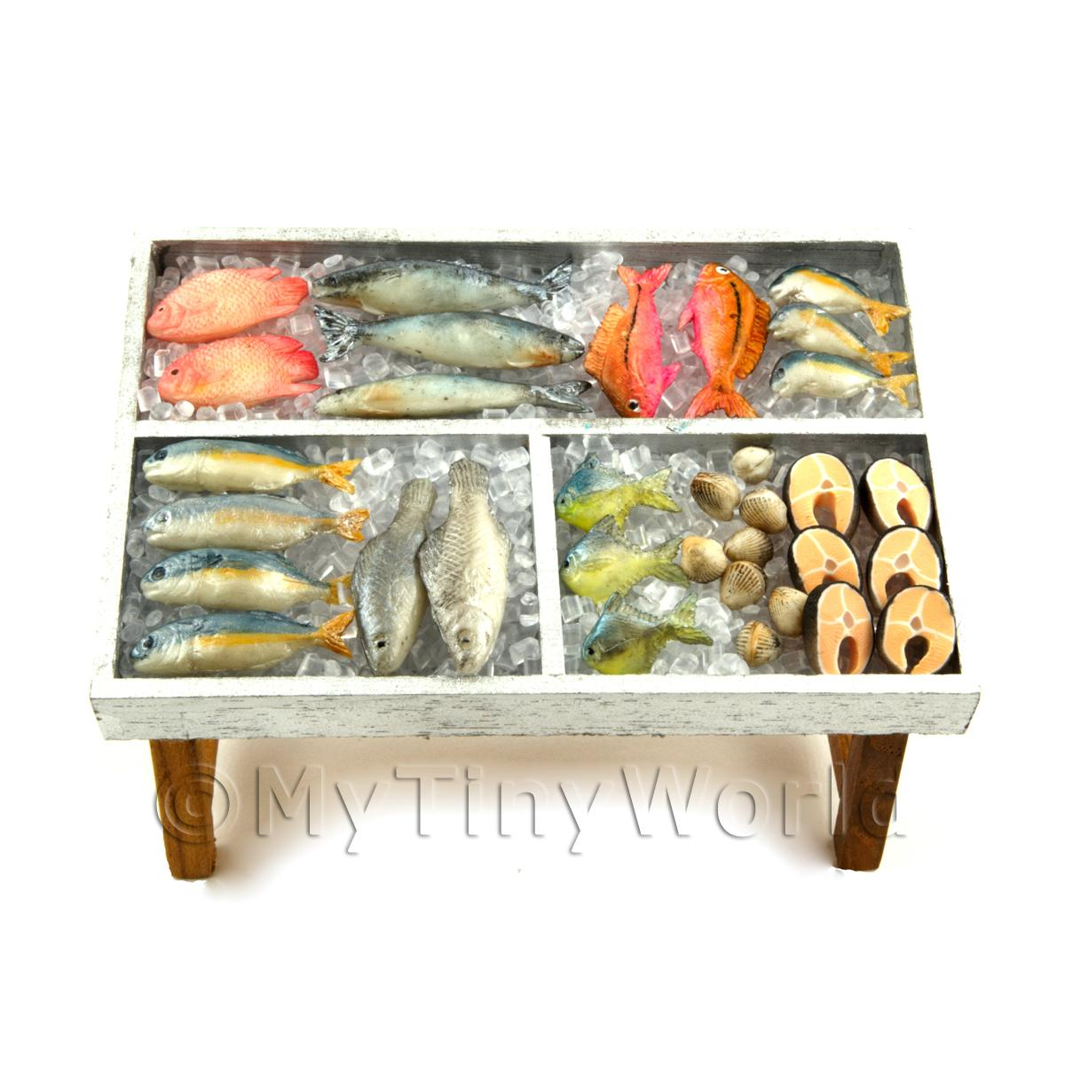 Dolls House Miniature Fully Stocked Fishmonger Counter Style 2