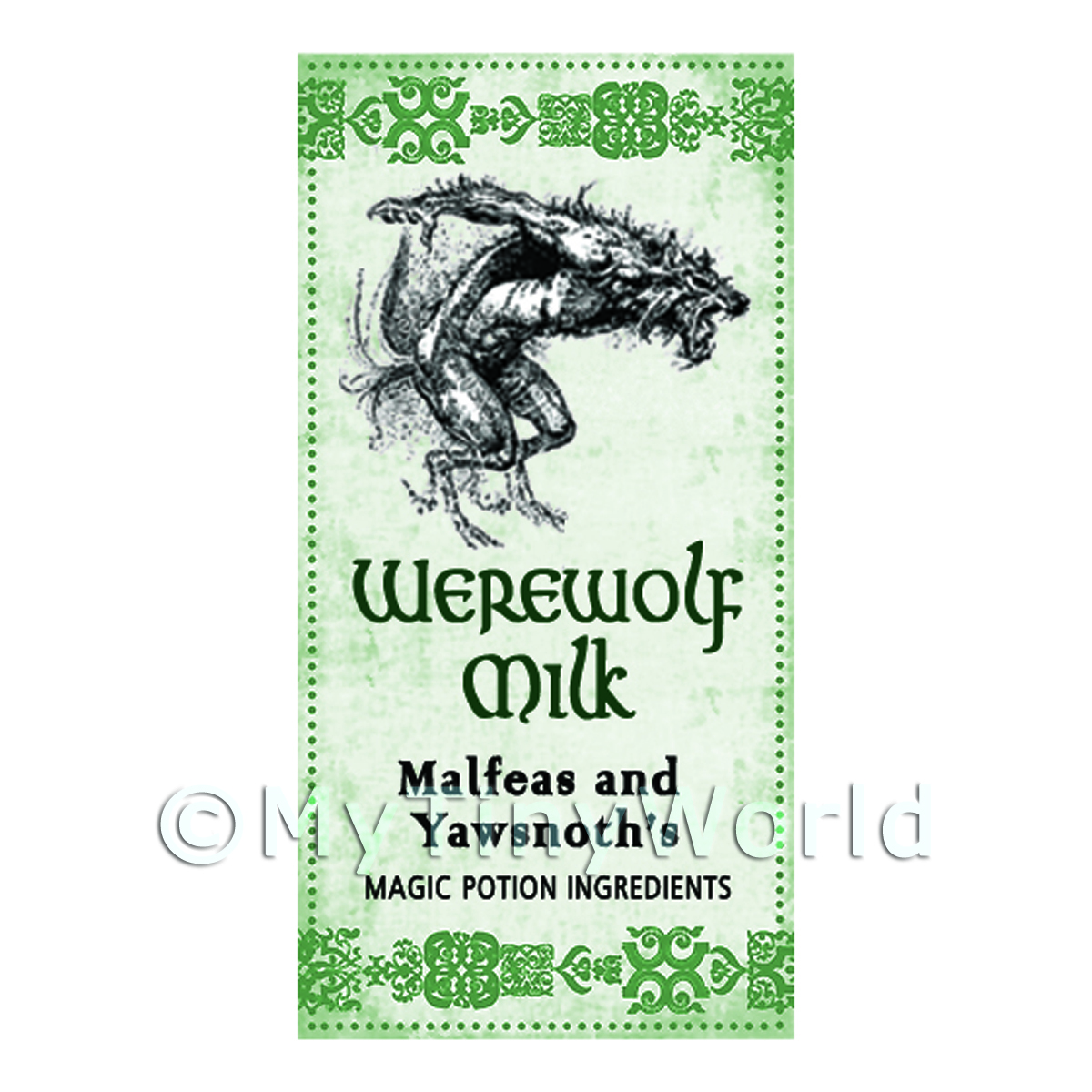 Dolls House Miniature Werewolf Milk Magic Label (S3)