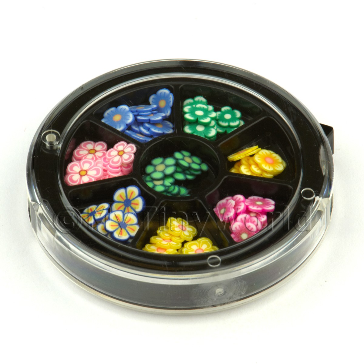 80 Assorted Nail Art Flowers Slices In a Wheel