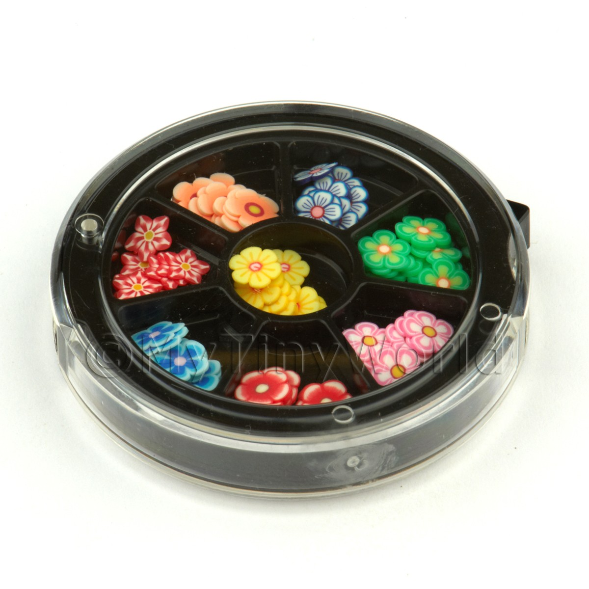 80 Assorted Nail Art Flowers Slices In a Wheel Set 2