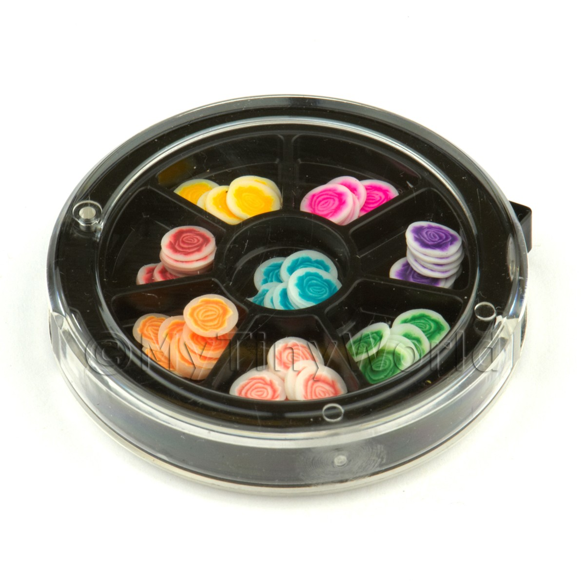 80 Assorted Nail Art Rose Slices In a Wheel Set 1