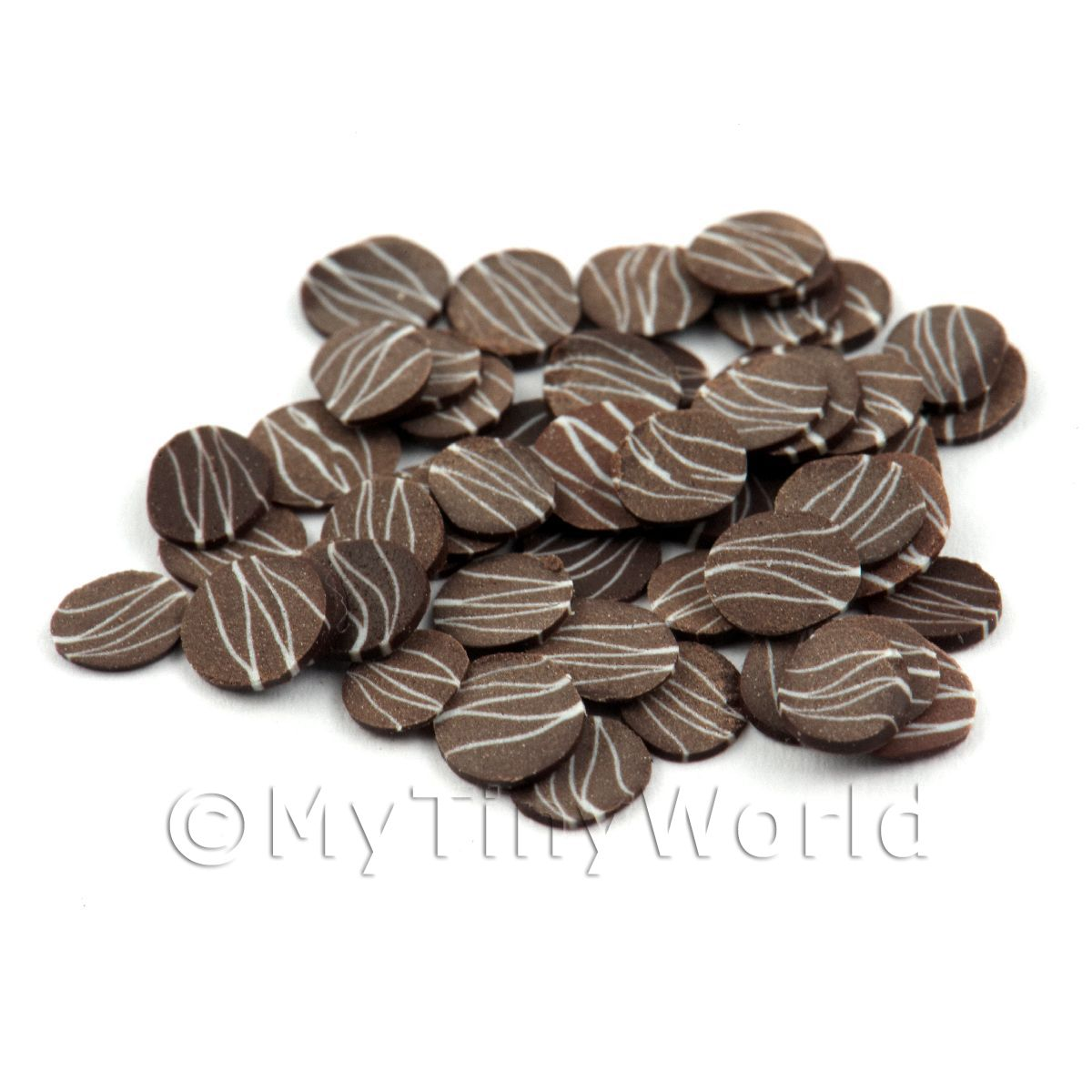 50 Dark Chocolate Ripple Slices - Nail Art (11NS38)