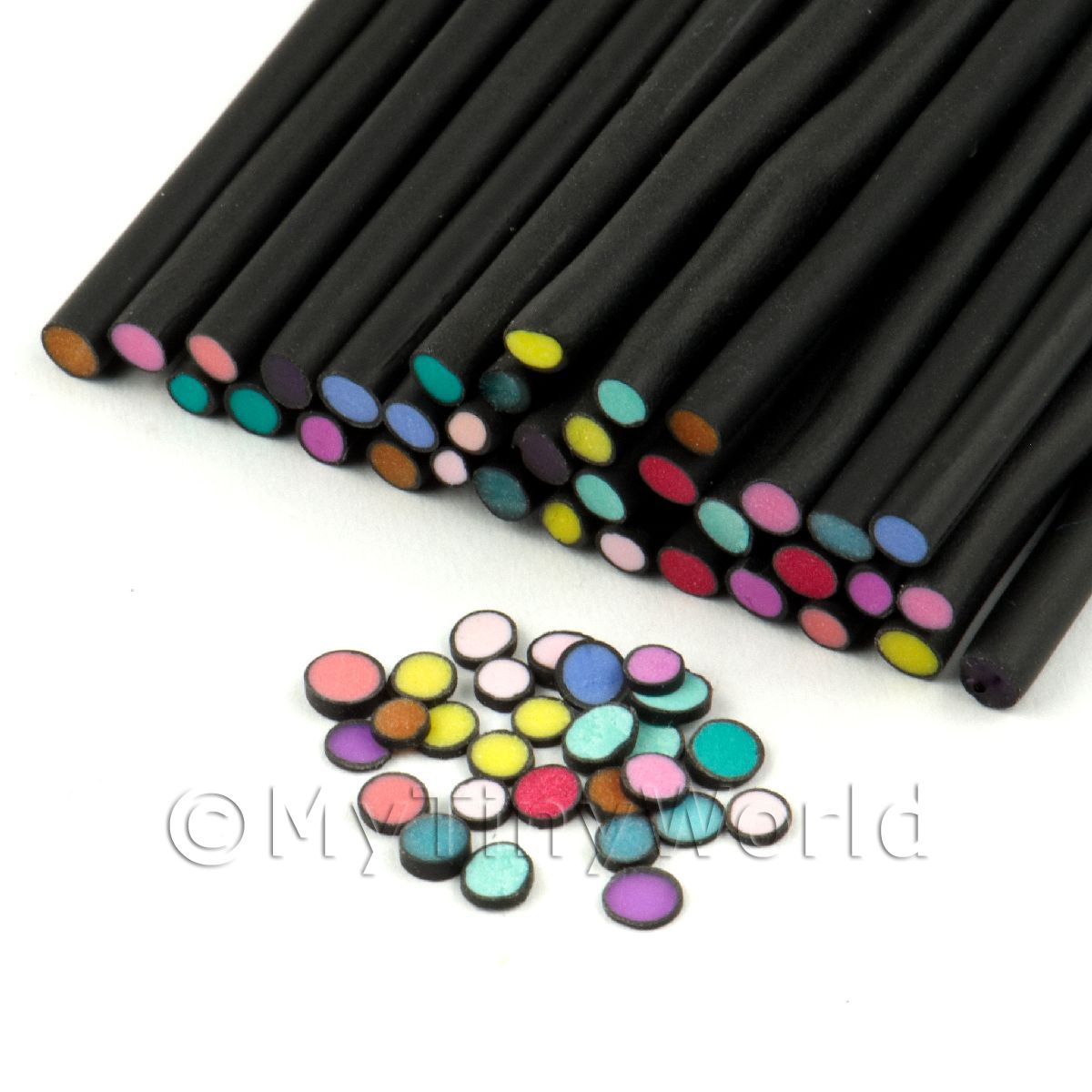 35 Mixed Polka Dot Canes Black Outer (11NC20)