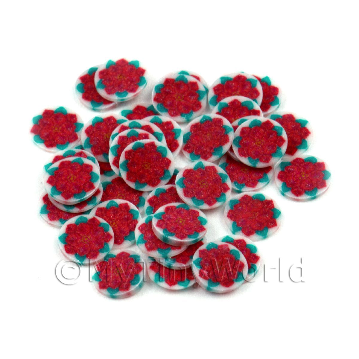 50 Red Poinsettia Cane Slices - Nail Art (11NS07)