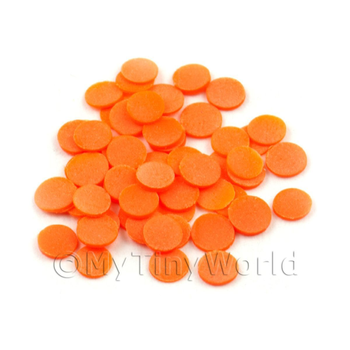 50 Orange Polka Dot Cane Slices - Nail Art (11NS17)