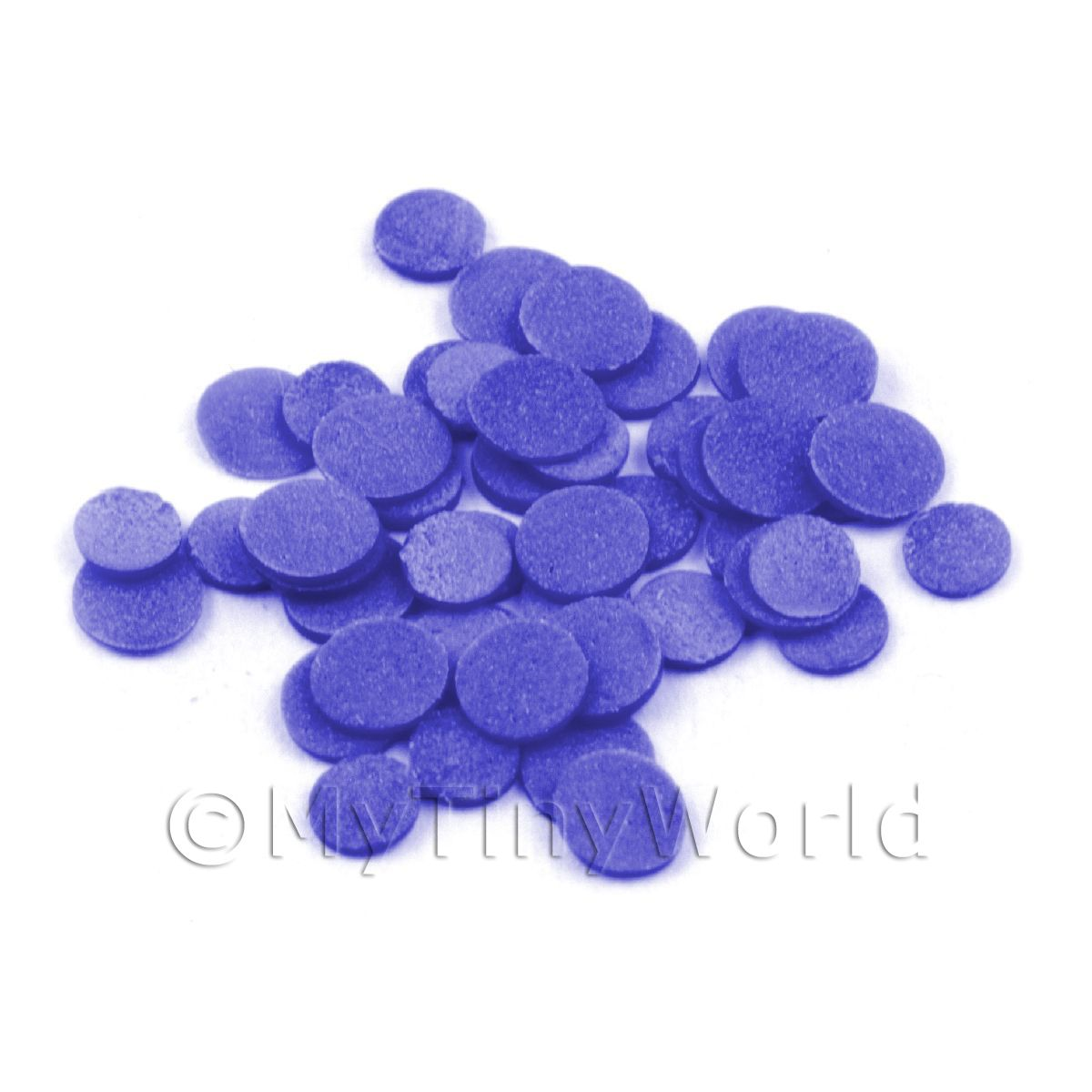 50 Violet Blue Polka Dot Cane Slices - Nail Art (11NS21)