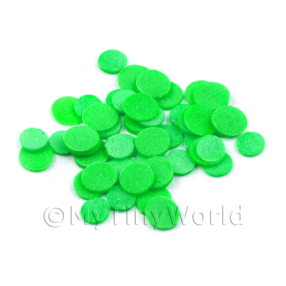 50 Light Green Polka Dot Cane Slices - Nail Art (11NS22)