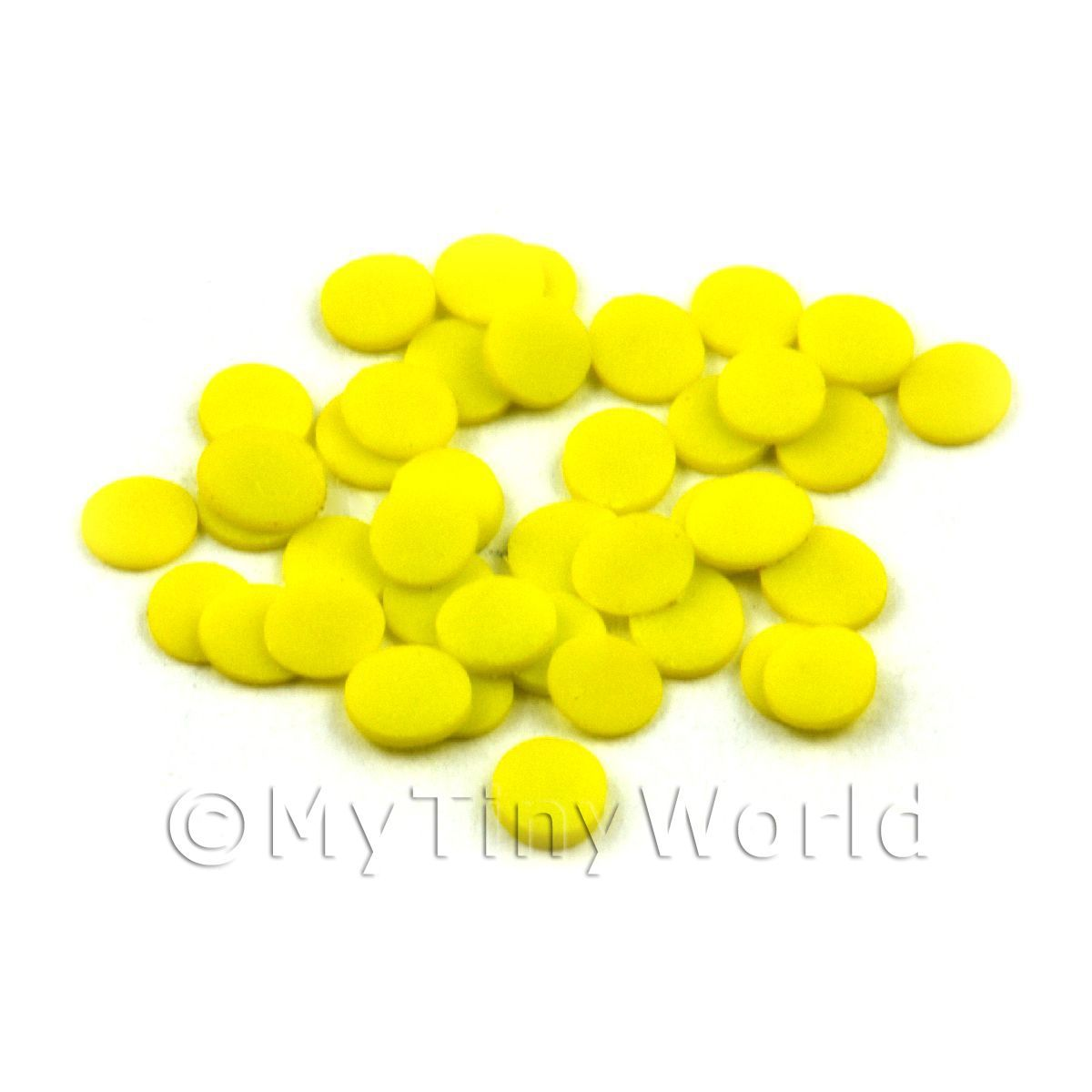 50 Yellow Polka Dot Cane Slices - Nail Art (11NS20)