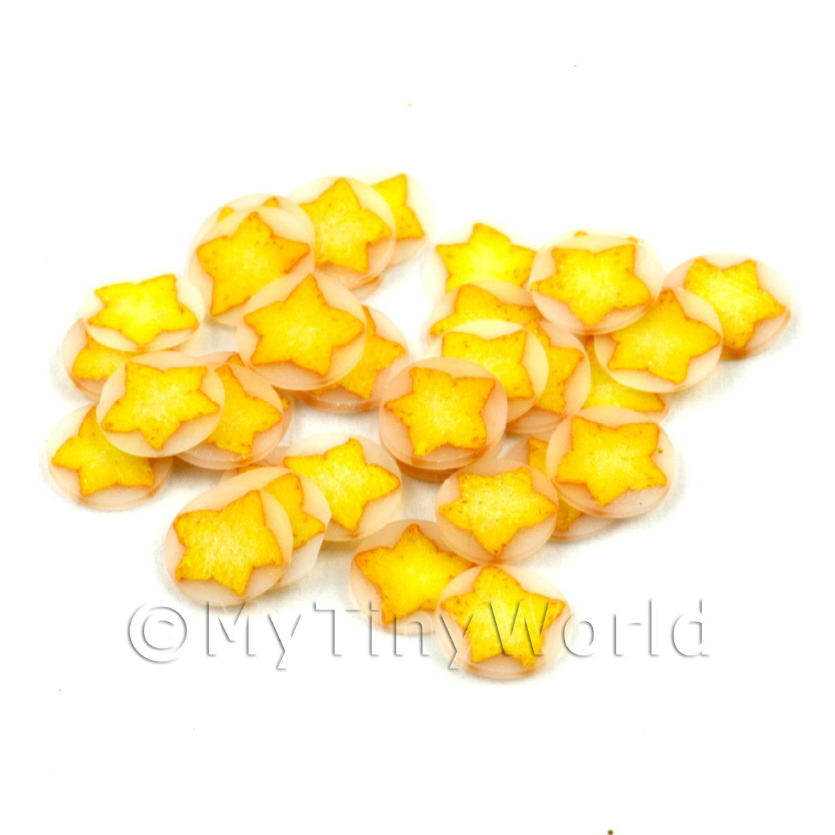 50 Yellow Christmas Star Cane Slices - Nail Art (11NS08)