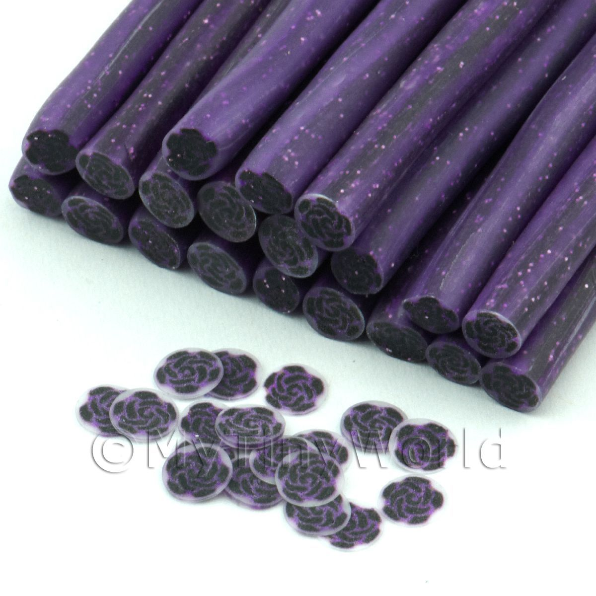 1 Black And Purple Rose Cane With Glitter - Nail Art (11NC60)