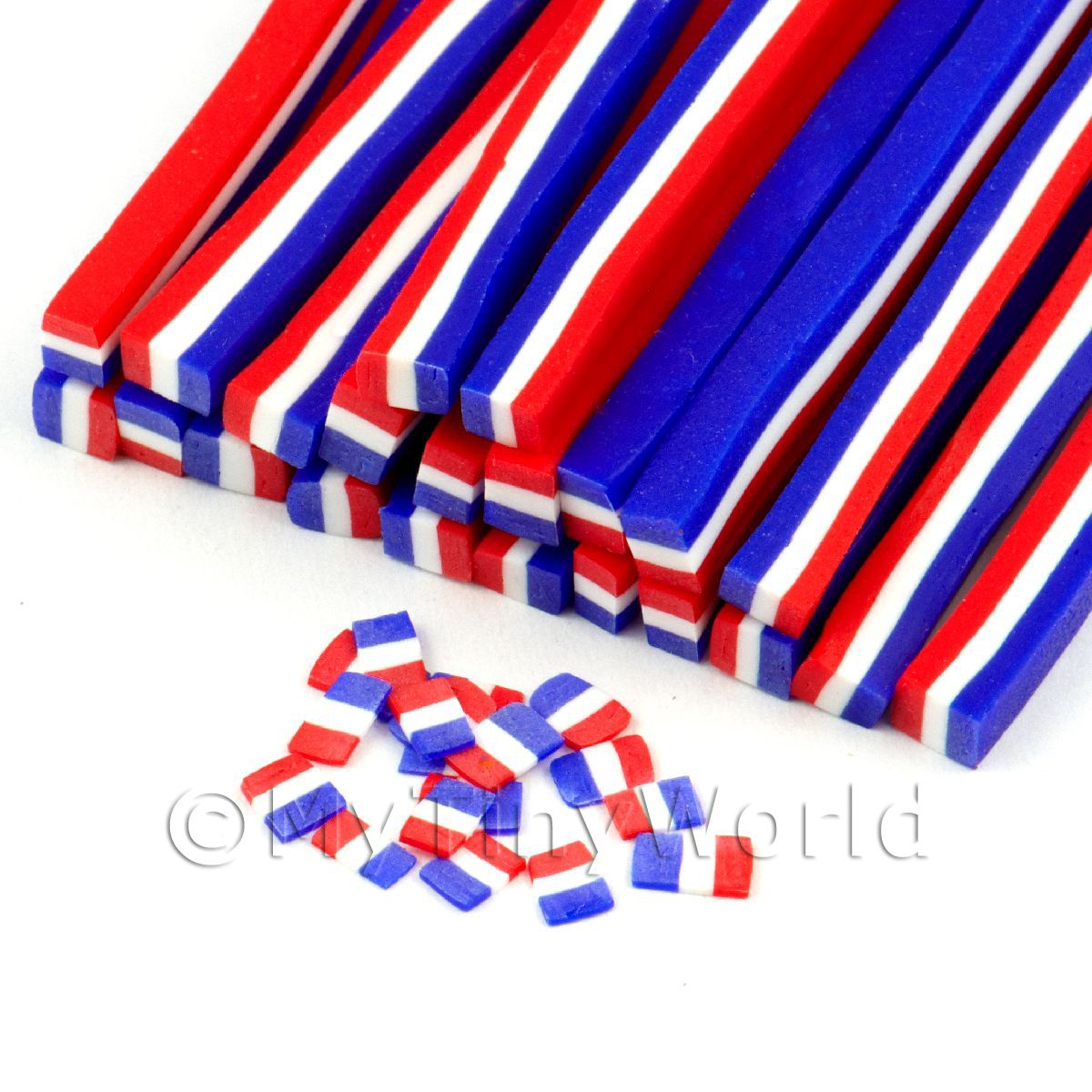 Handmade French Flag Cane - Nail Art (11NC67