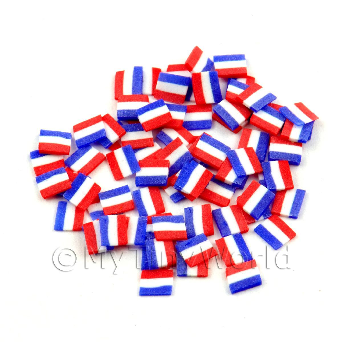 50 Dutch Flag Cane Slices - Nail Art (11NS50)