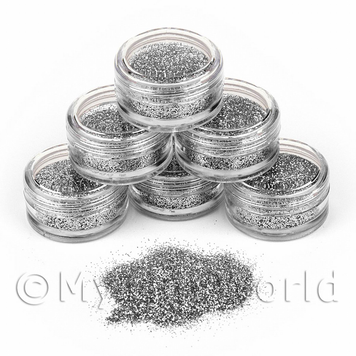 High Quality Nail Art Glitter - 2g Pot - Silvery Moon