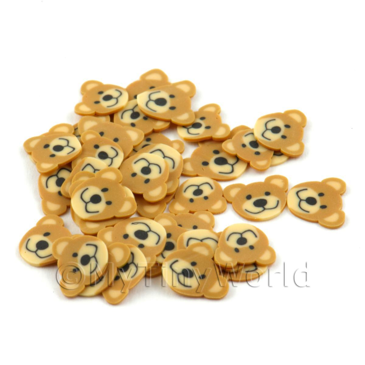 50 Handmade Light Brown Bear Cane Slices (DNS49)