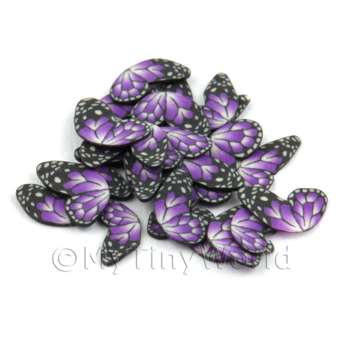 50 Purple Flying Butterfly Cane Slices - Nail Art (DNS11)