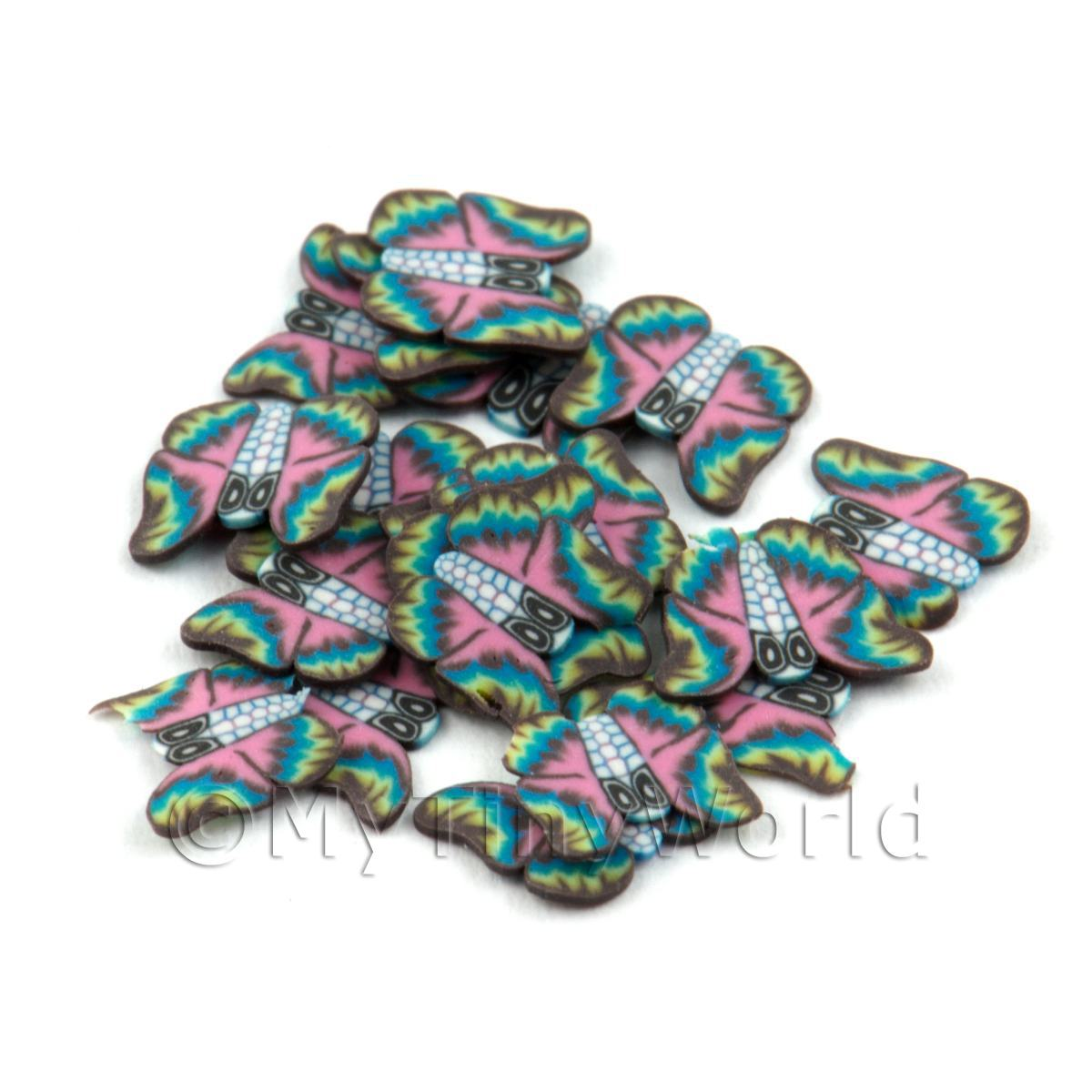 50 Rainbow Flying Butterfly Cane Slices - Nail Art (DNS15)