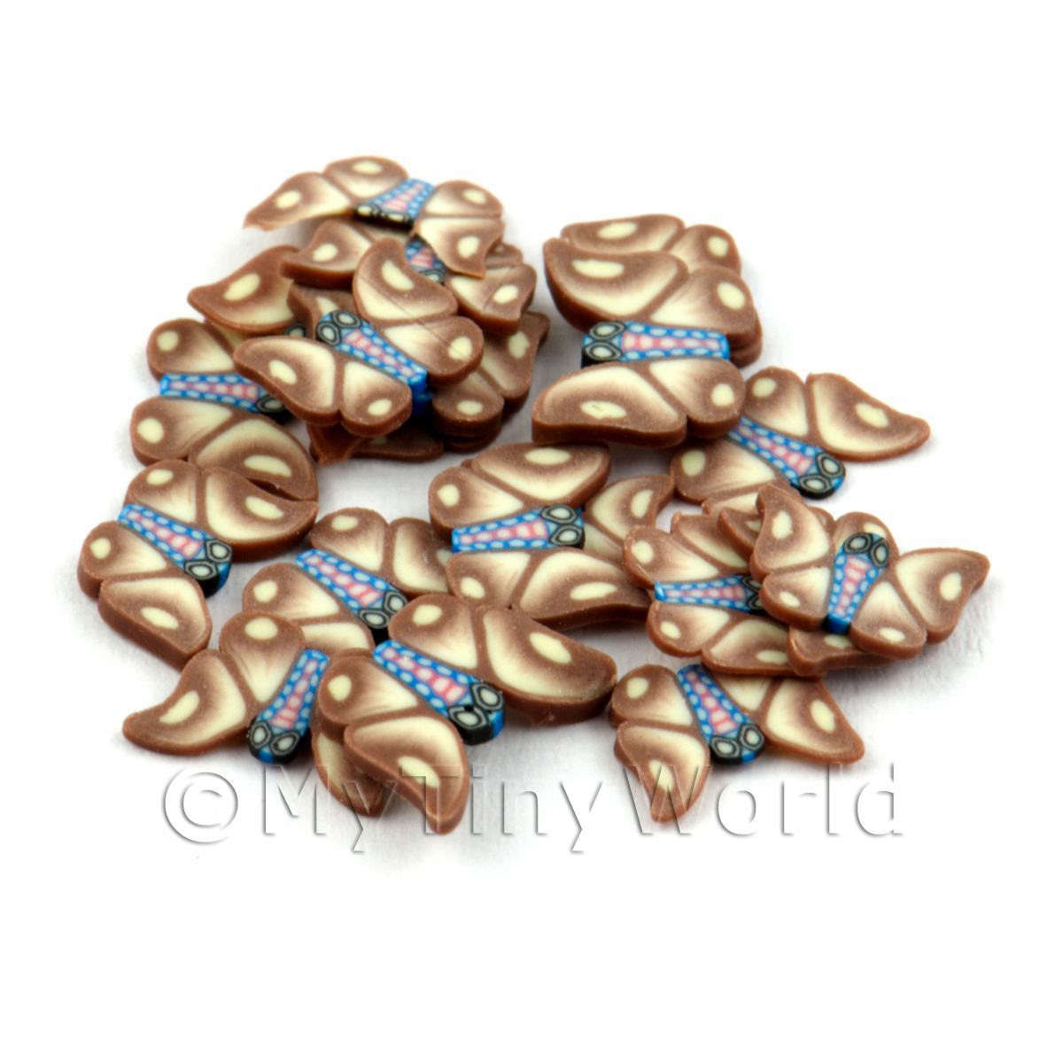 50 Brown Flying Butterfly Cane Slices - Nail Art (DNS16)