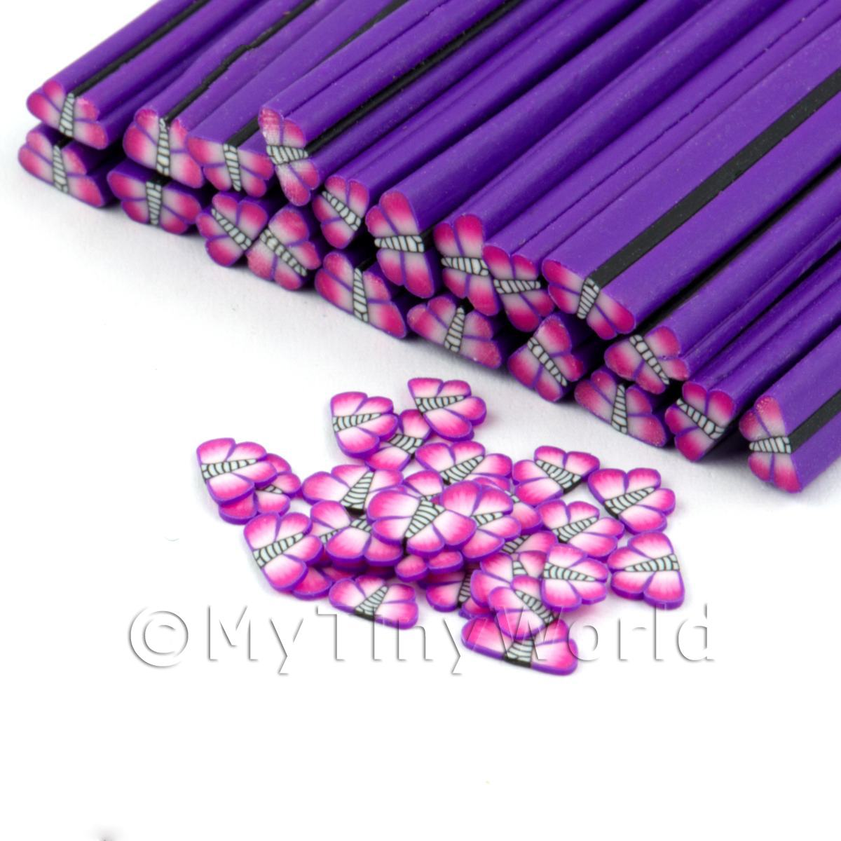 Handmade Pink and Violet Butterfly / Moth Cane - Nail Art (DNC23)