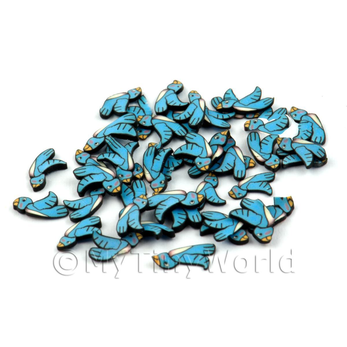 50 Handmade Blue Bird Cane Slices (DNS41)