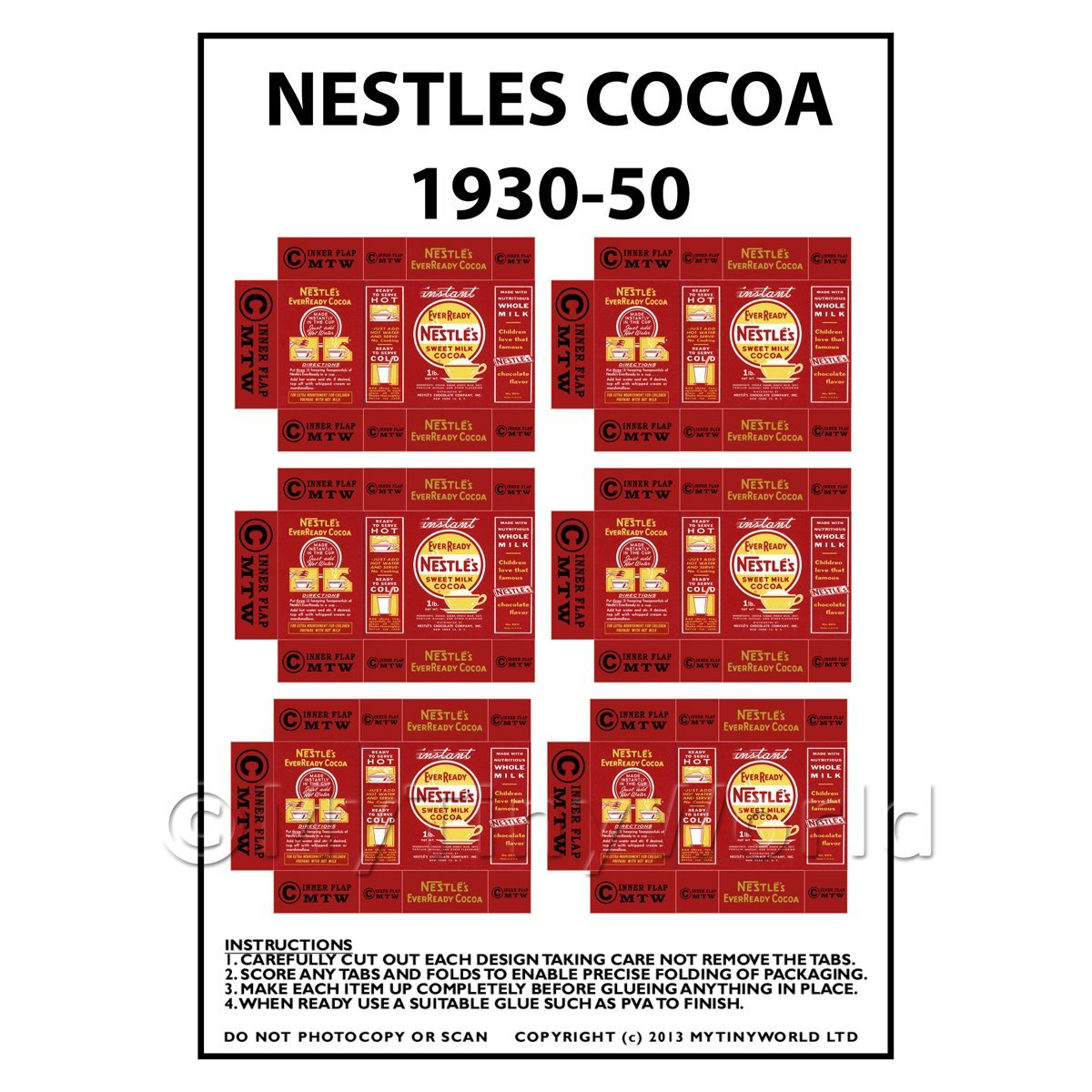 Dolls House Miniature Packaging Sheet of 6 Nestle Cocoa