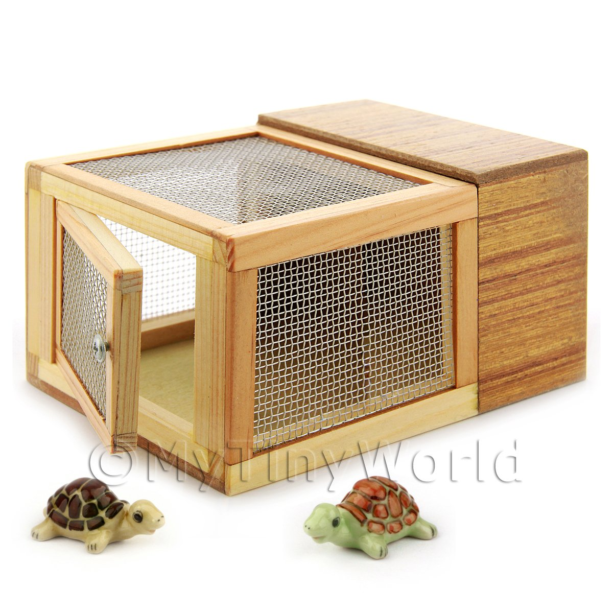Dolls House Miniature Wooden Hutch With Two Tortoises