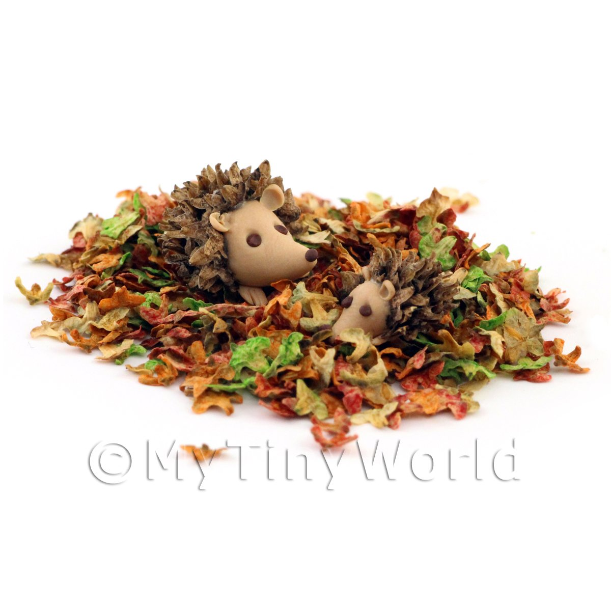 Dolls House Miniature Leaves With Frolicking Hedgehogs