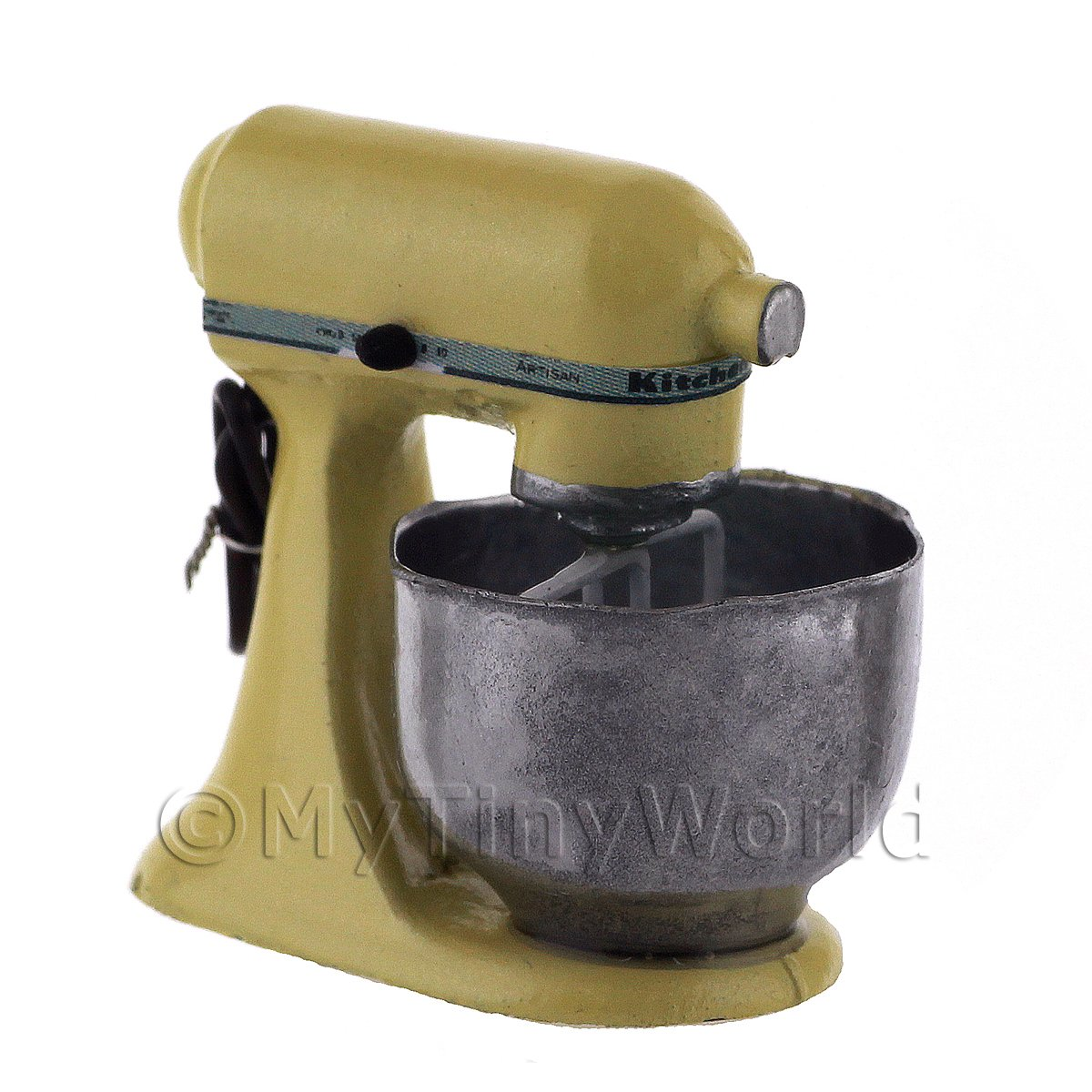 Yellow Dolls House Miniature Old Style Batter / Dough Mixer