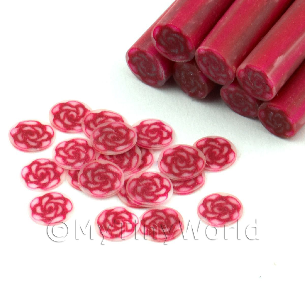 1 Red Rose Cane With Glitter - Nail Art (11NC39)