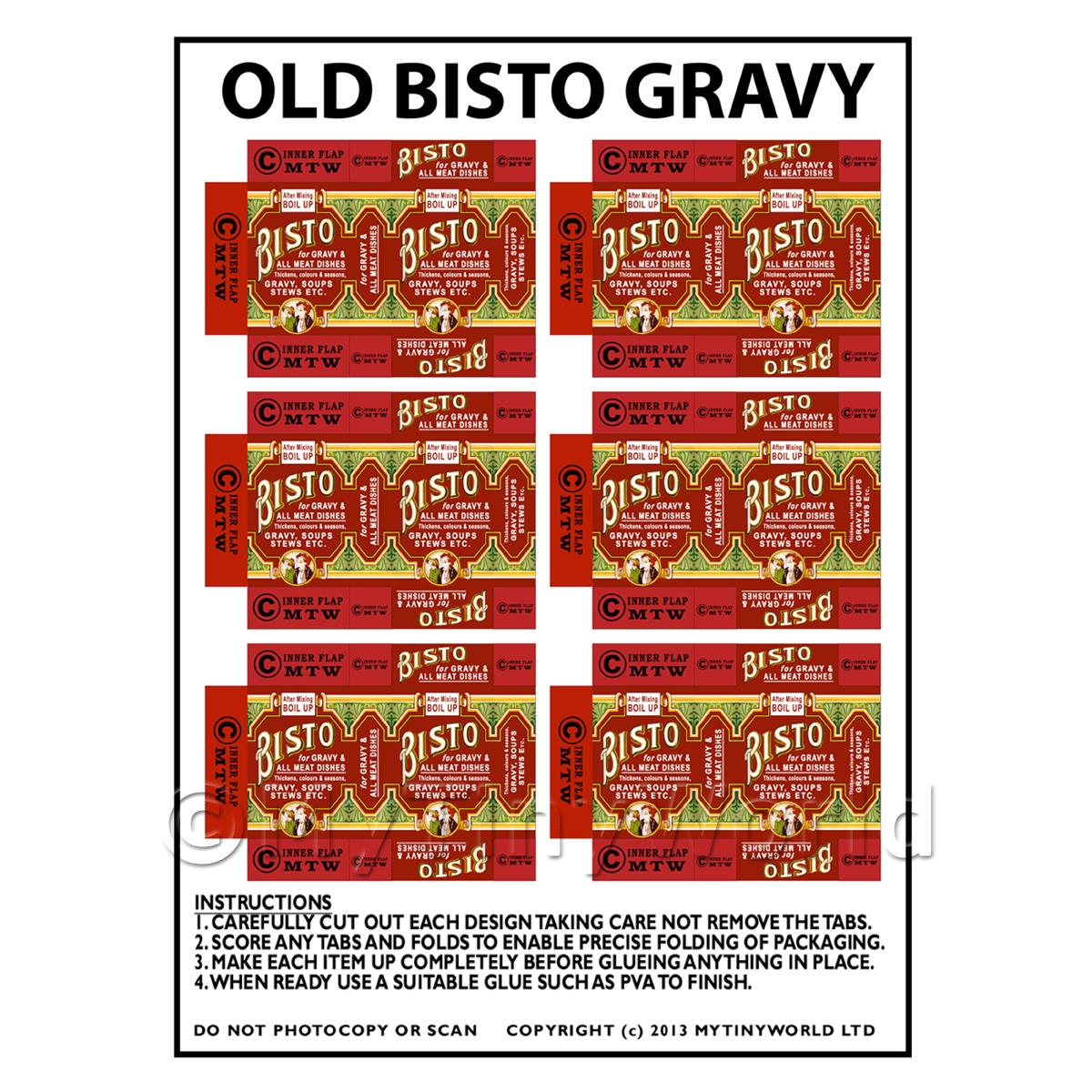 Dolls House Miniature Packaging Sheet of 6 Old Bisto Gravy Packets