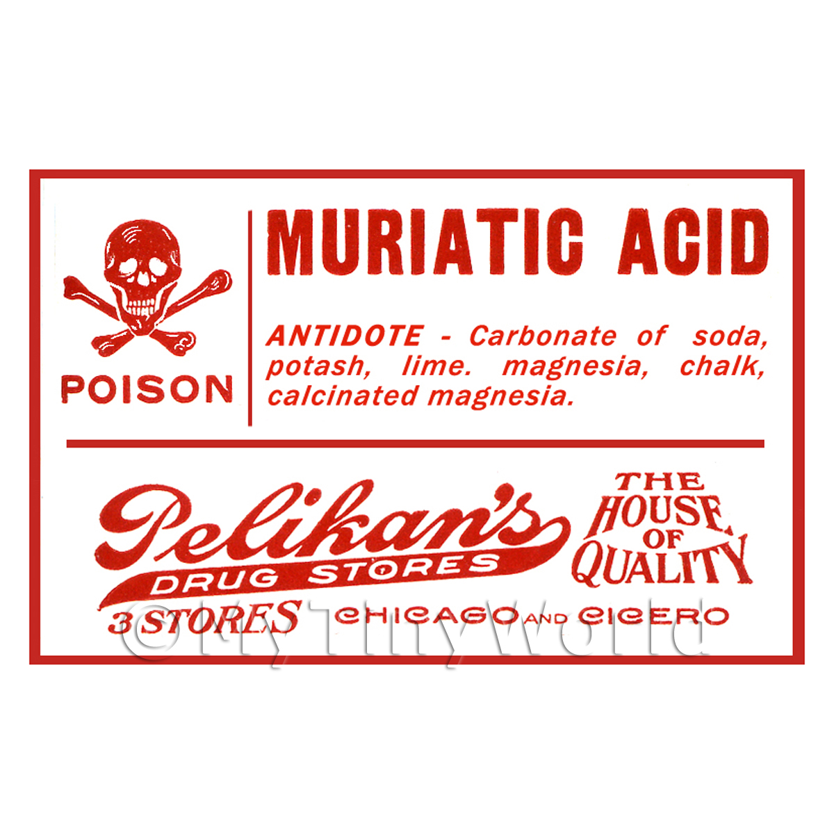 Dolls House Miniature Muriatic Acid Poison Label Style 1