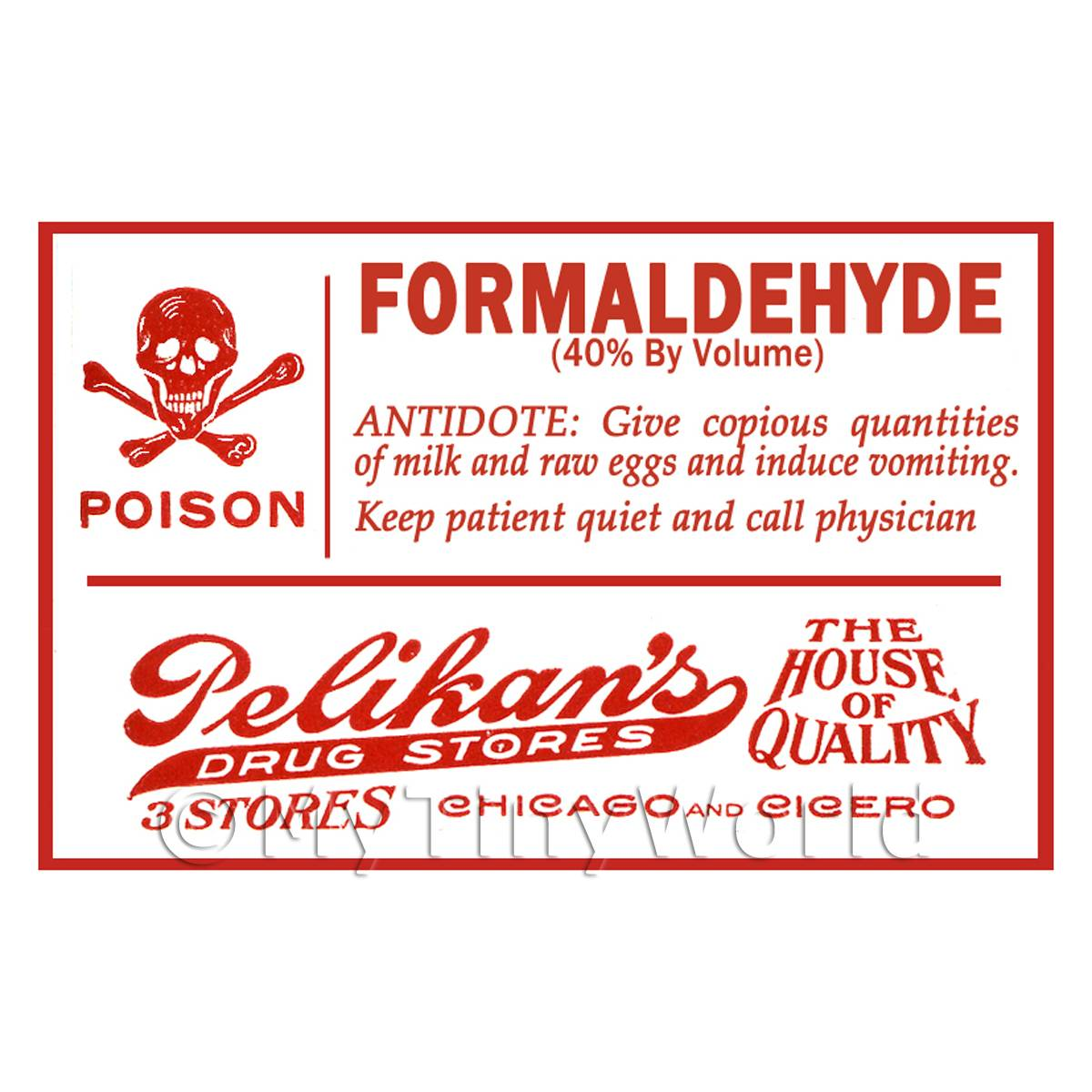 Dolls House Miniature Formaldehyde Poison Label Style 1