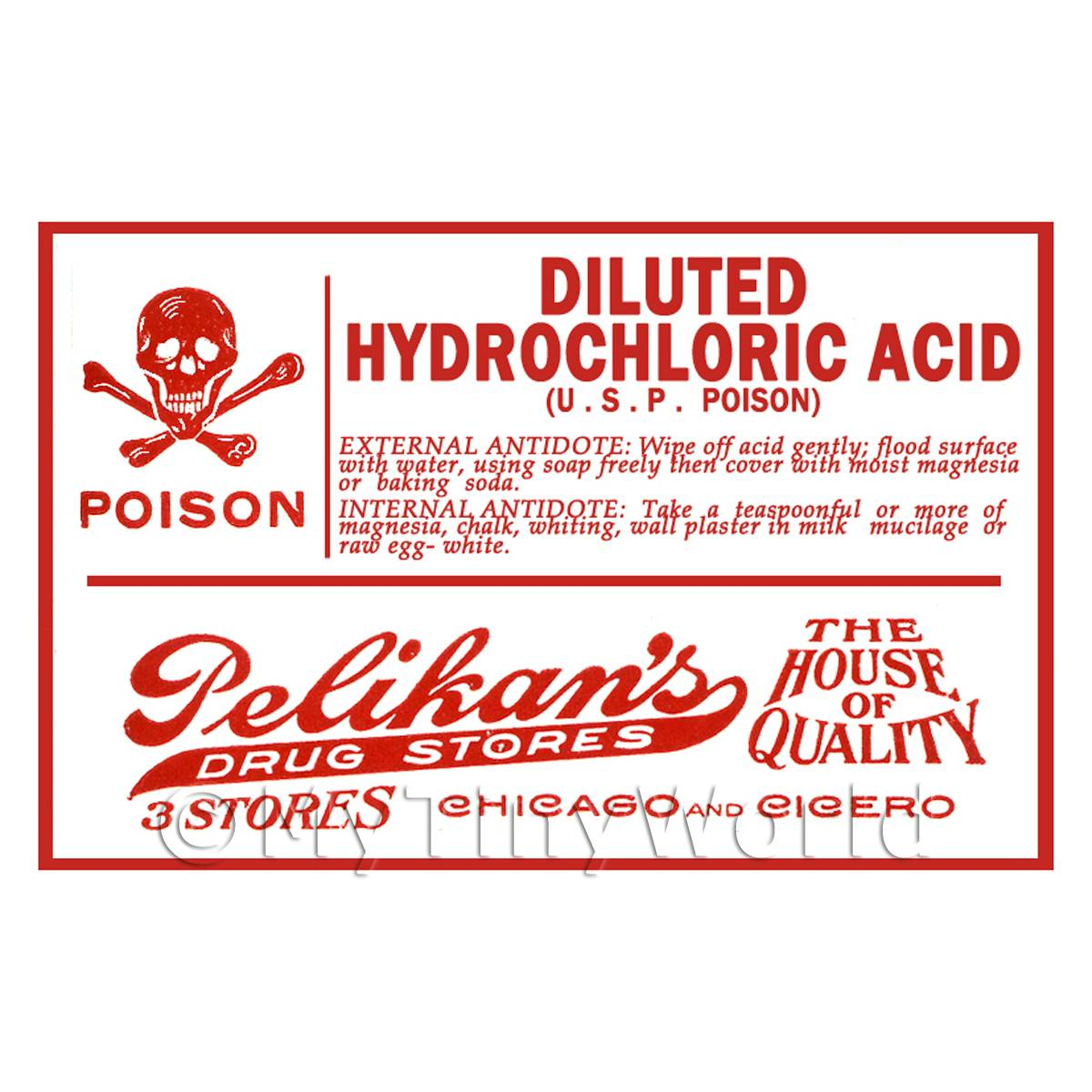 Dolls House Miniature Hydrochlorich Acid Poison Label Style 1
