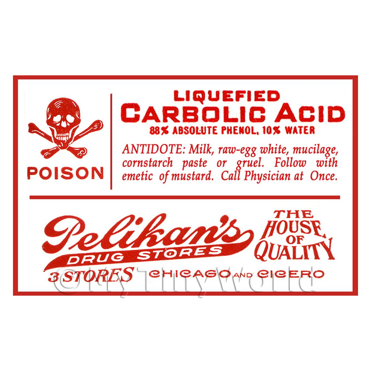 Dolls House Miniature Carbolic Acid Poison Label Style 1