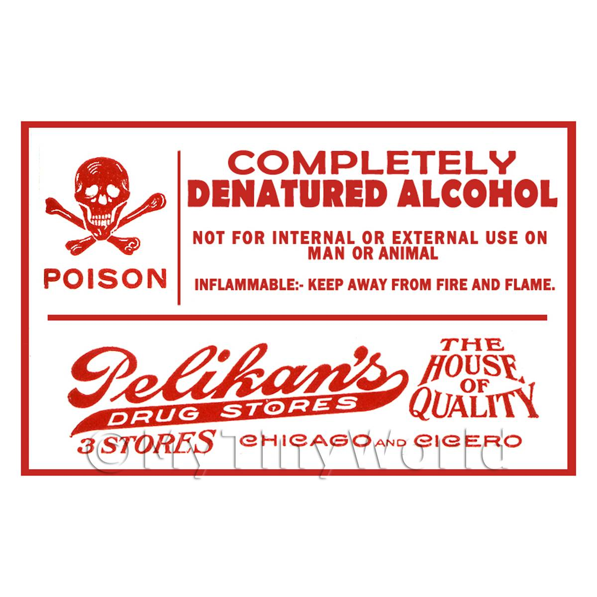 Dolls House Miniature Denatured Alcohol Poison Label Style 1