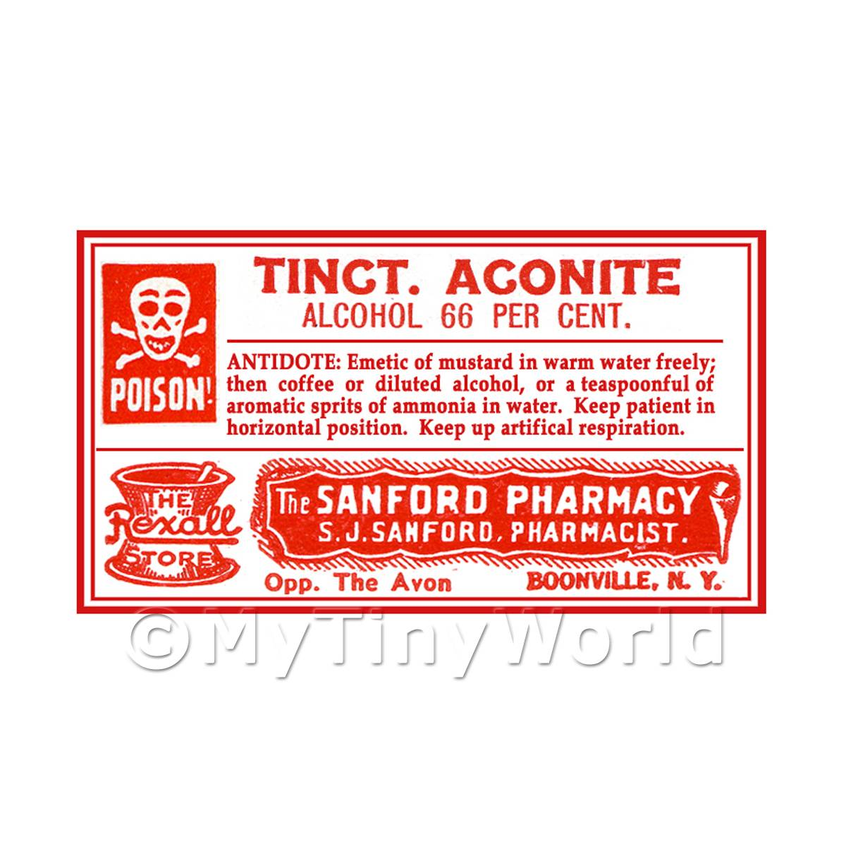 Dolls House Miniature Tinct. Aconite Poison Label Style 4