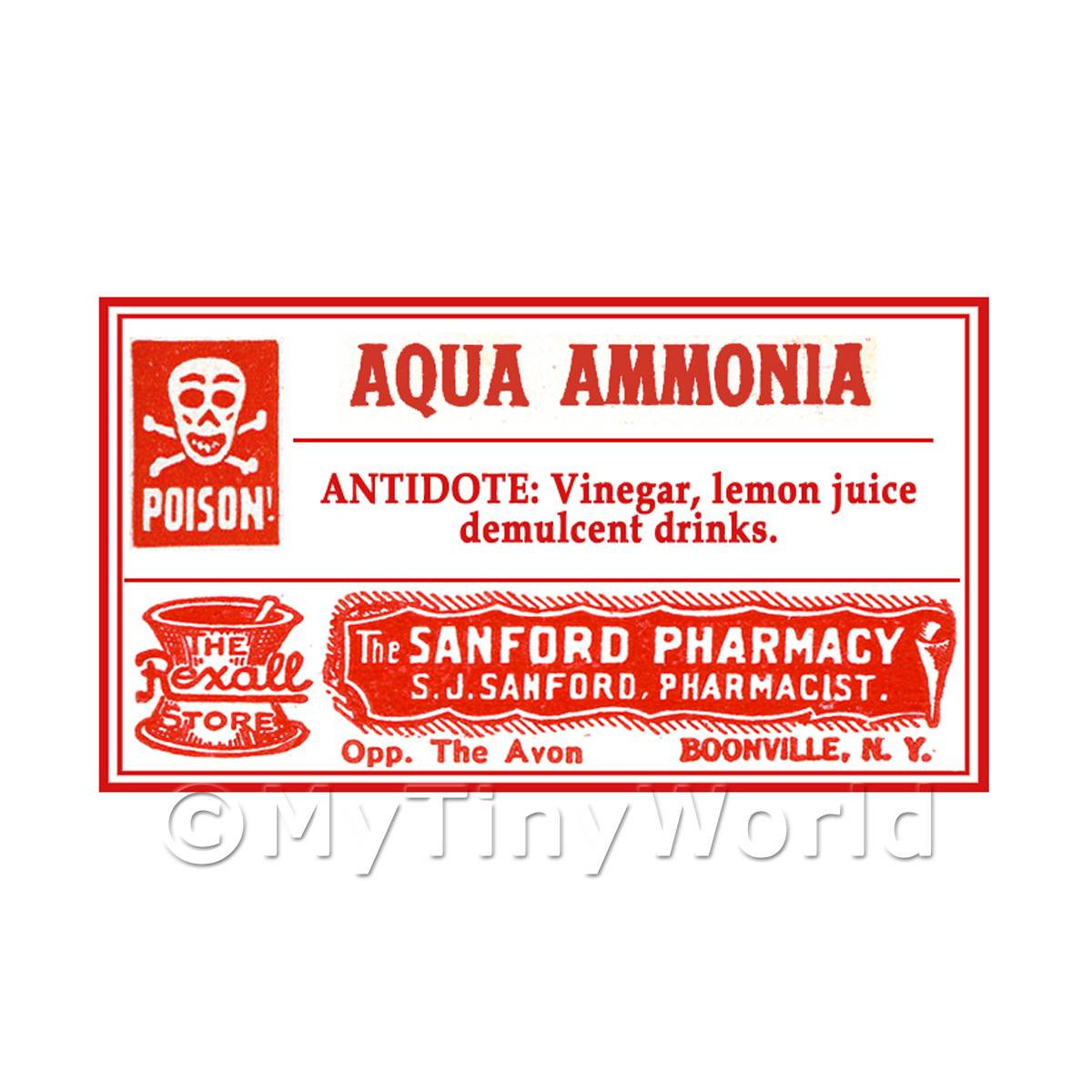 Dolls House Miniature Aqua Ammonia Poison Label Style 4