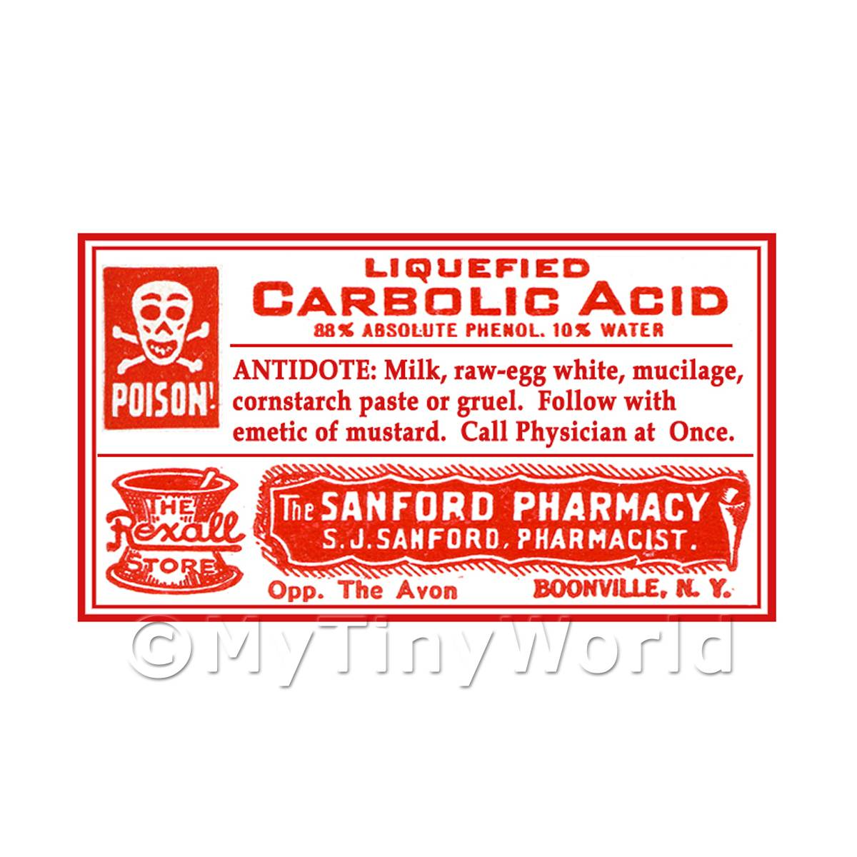 Dolls House Miniature Carbolic Acid Poison Label Style 4