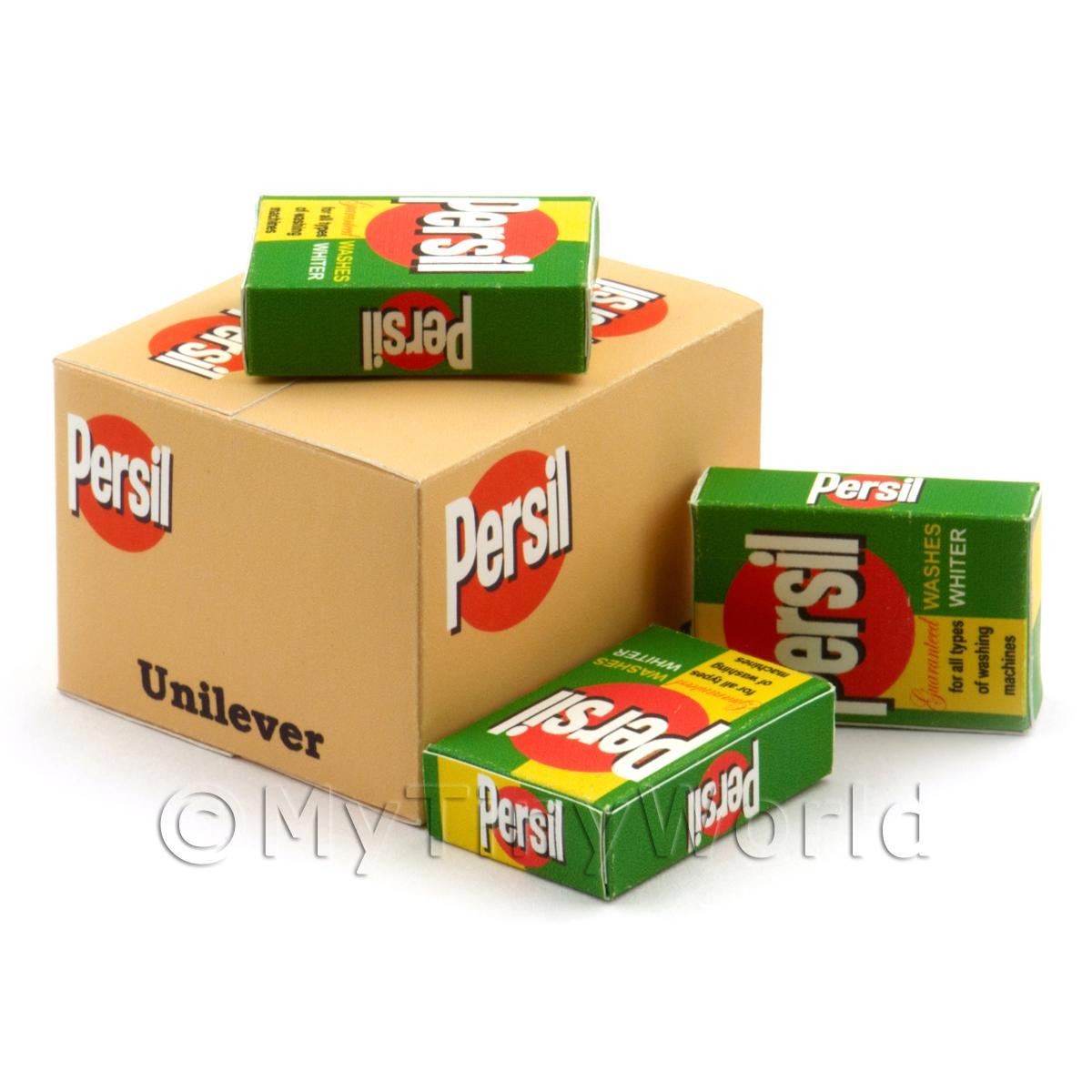 Dolls House Miniature Persil Shop Stock Box And 3 Loose Boxes