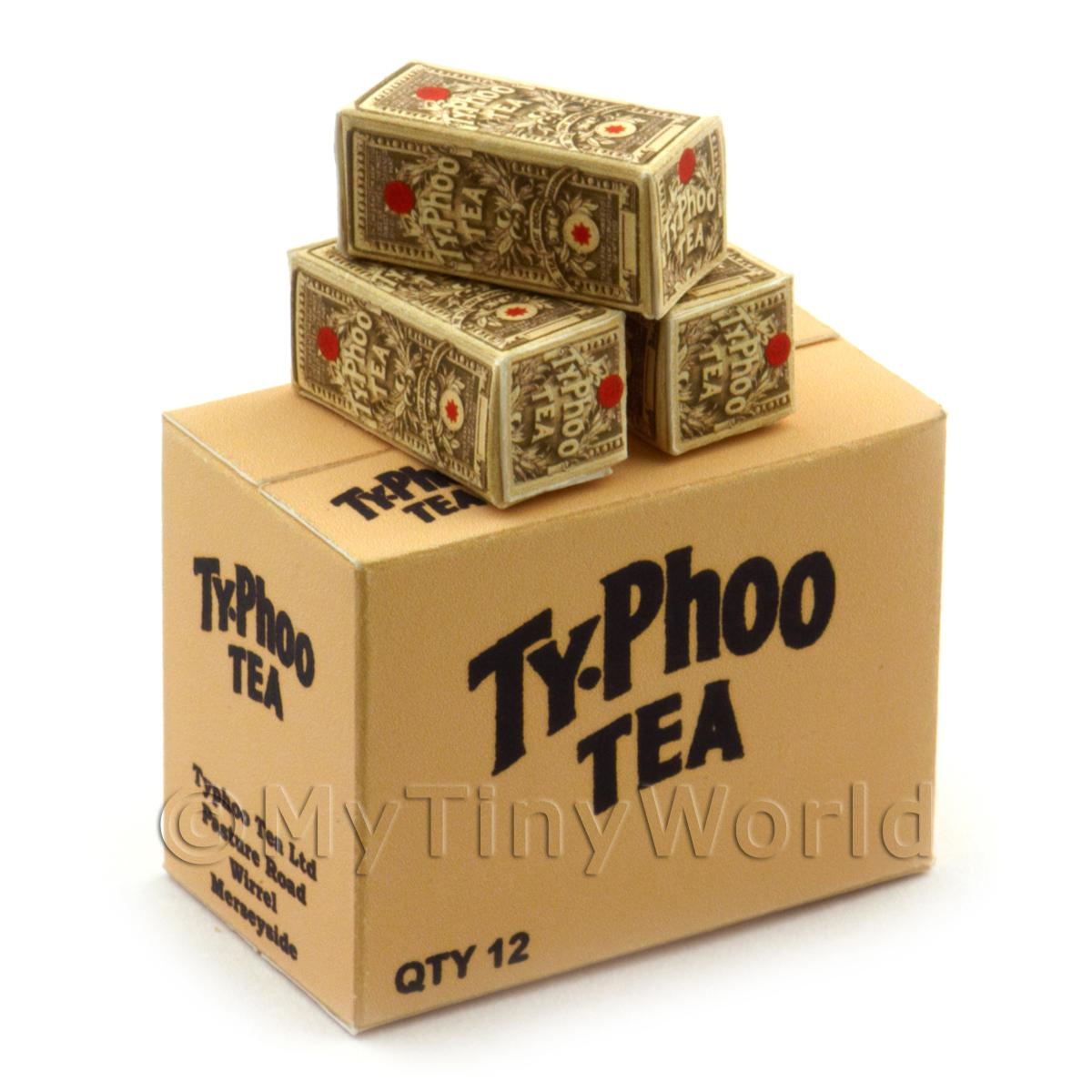 Dolls House Miniature Typhoo Tea Grey Shop Stock Box And 3 Loose Boxes
