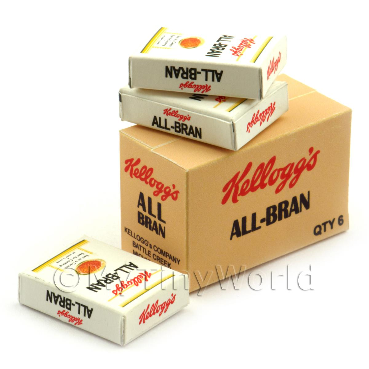 Dolls House Miniature Kellogs All Bran Shop Stock Box And 3 Loose Boxes