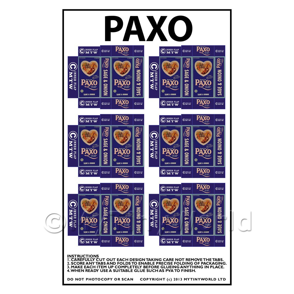 Dolls House Miniature Packaging Sheet of 6 Paxo
