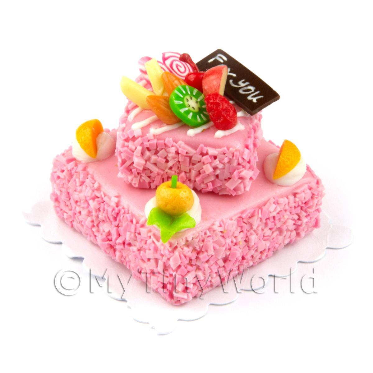 Dolls House Miniature Large Handmade Two Tier Pink Square Cake