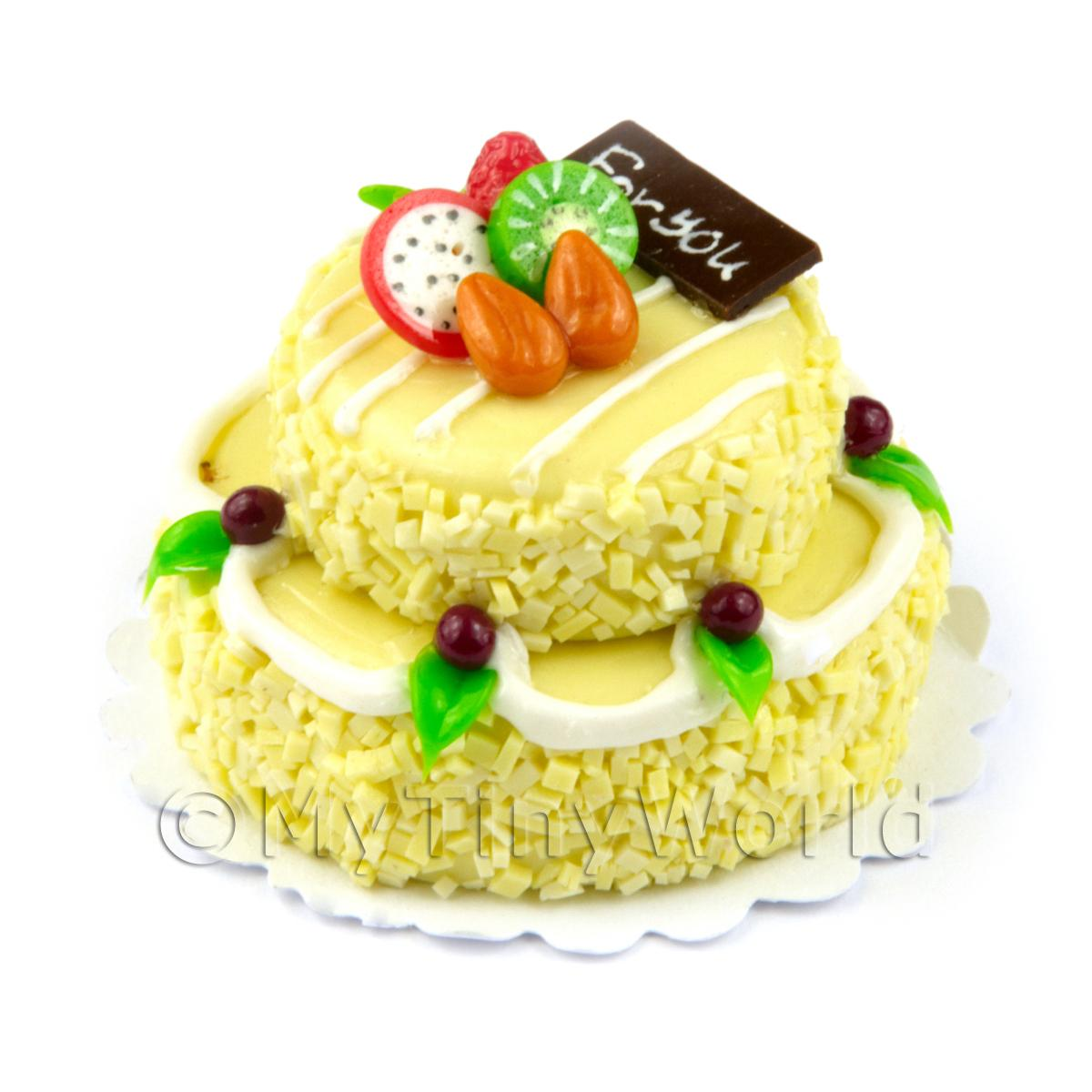 Dolls House Miniature Large Handmade Two Tier Yellow Iced Round Cake