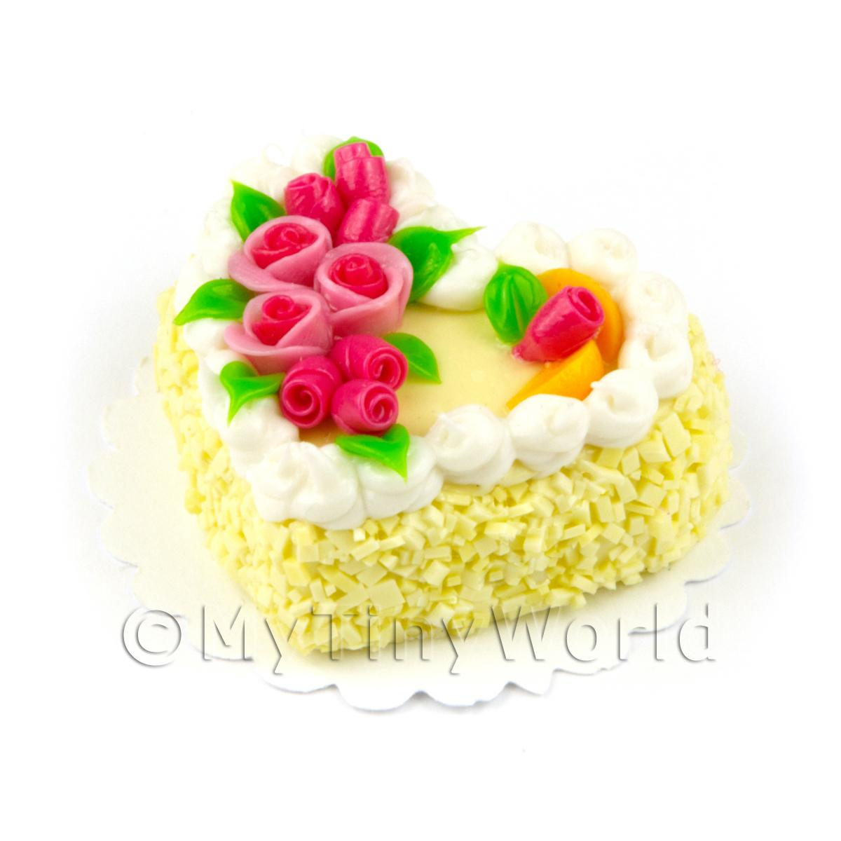 Dolls House Miniature Yellow Iced Heart Cake