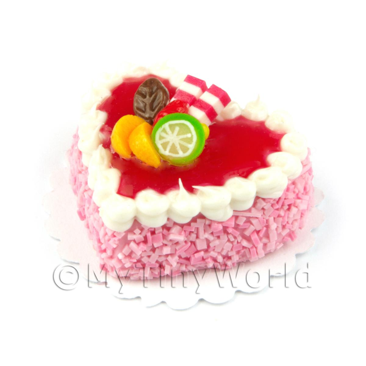 Dolls House Miniature Pink Iced Heart Cake