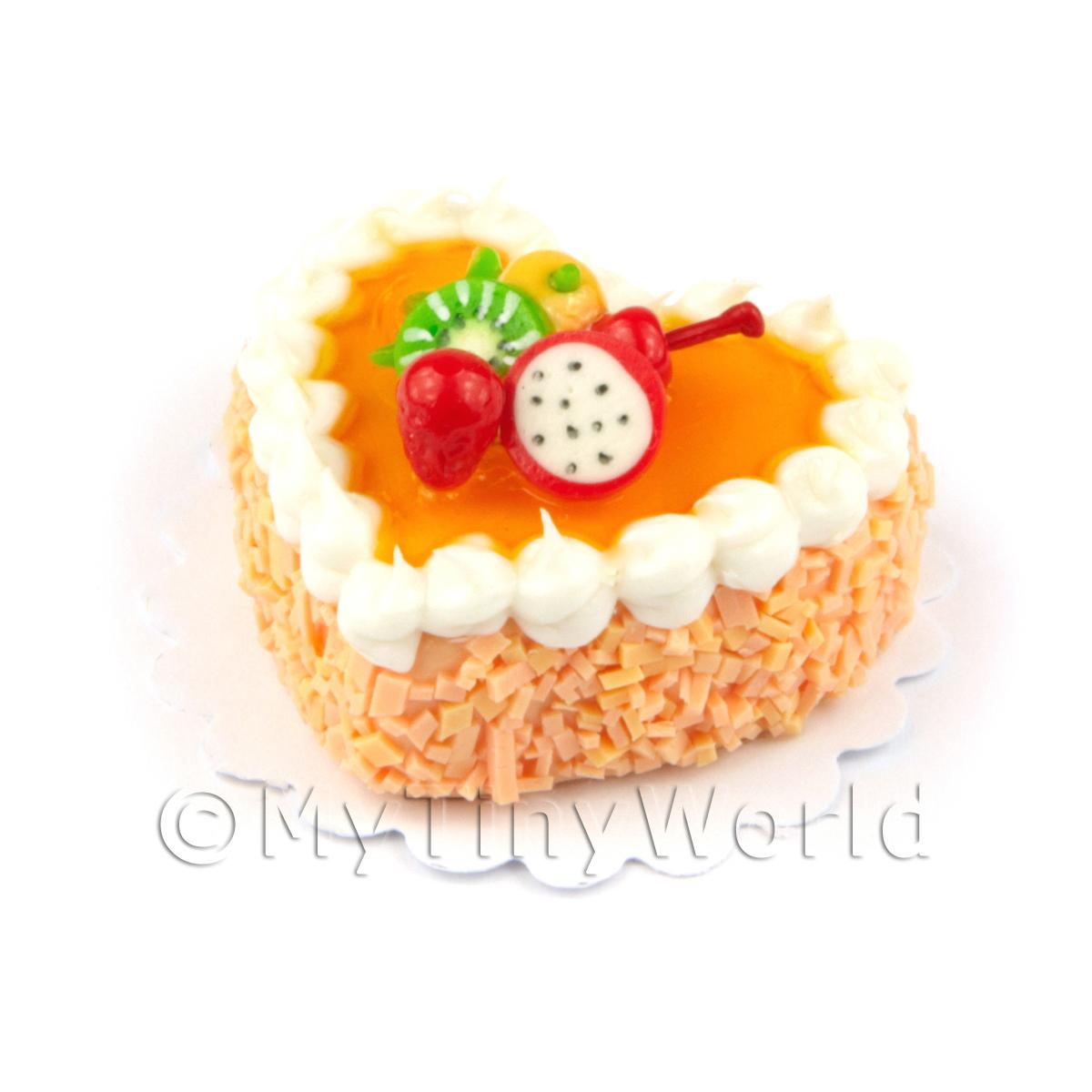 Dolls House Miniature Peach Iced Fruit Topped Heart Cake