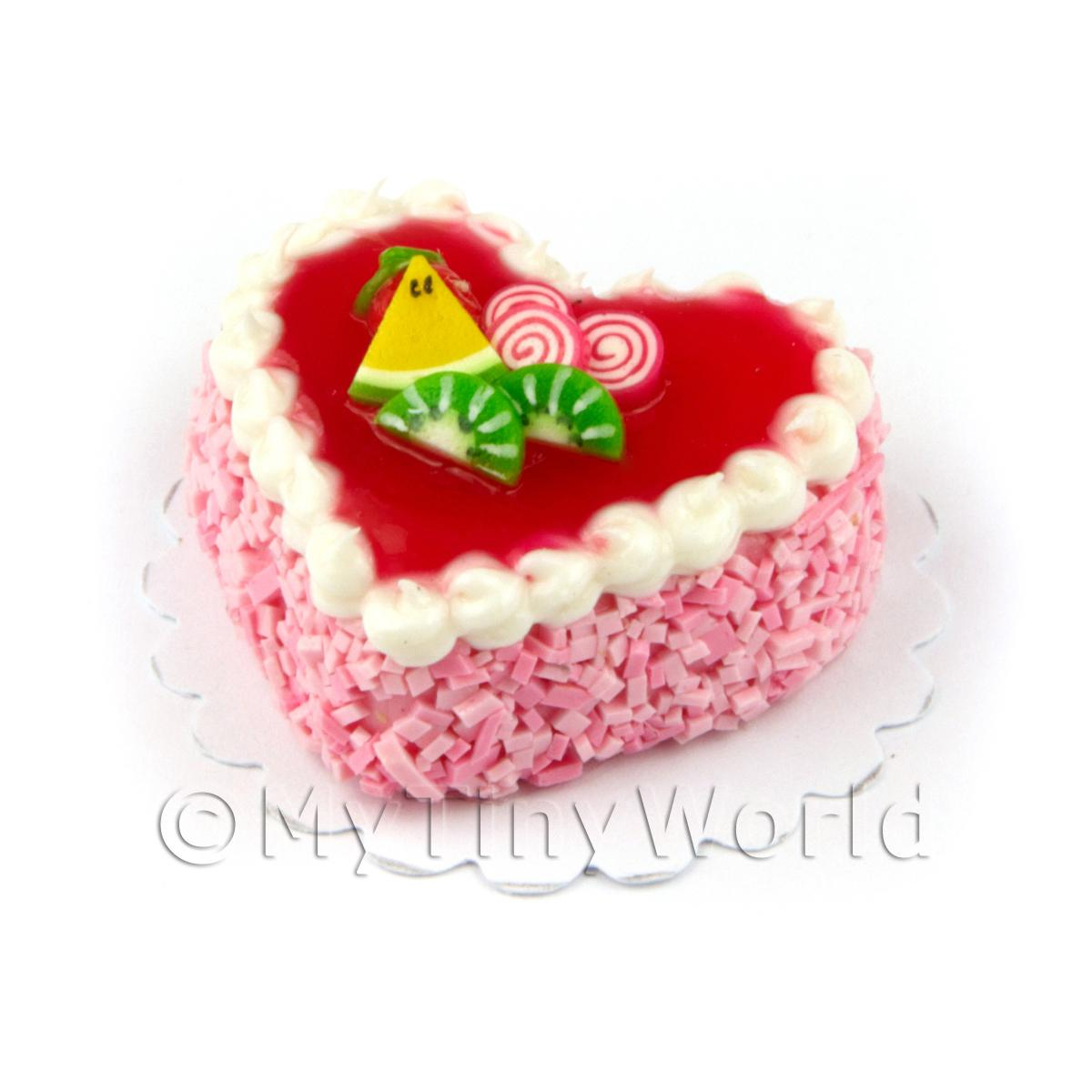Dolls House Miniature Pink Iced Fruit Topped Heart Cake