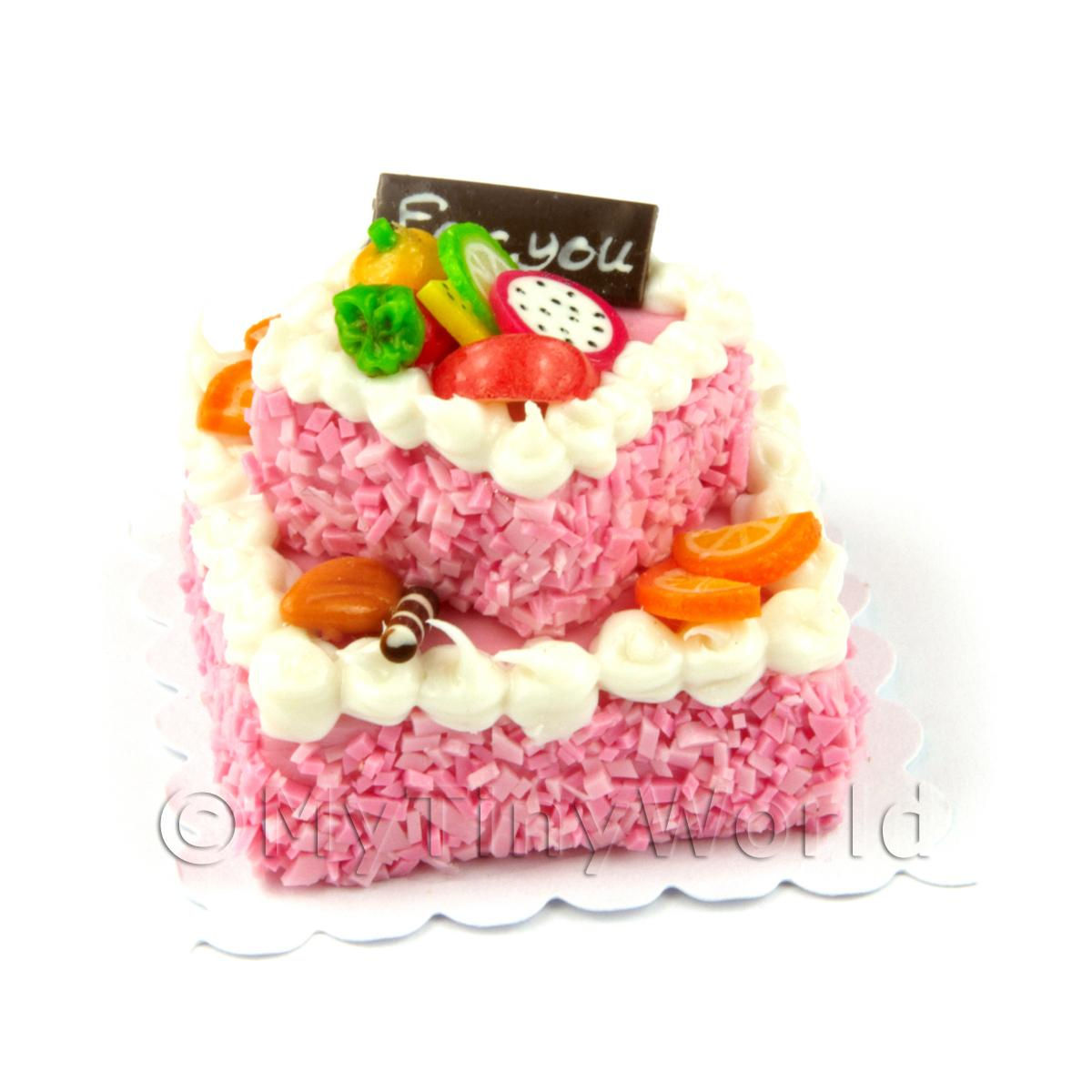 Miniature Large Handmade Two Tier Pink Cake